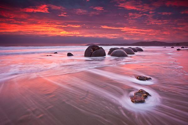 Рассвет недалеко от Отаго, Новая Зеландия