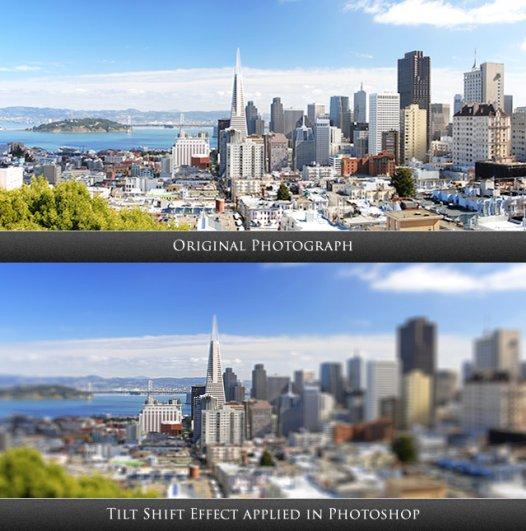 Сверху – оригинальная фотография, снизу – Tilt-Shift эффект, примененный в Photoshop.