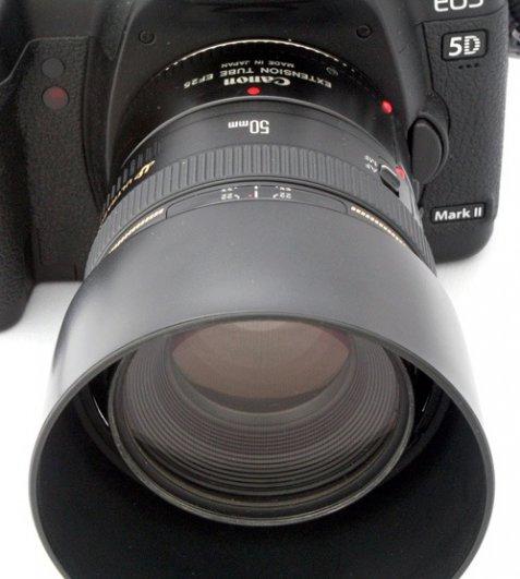 Эта фотография демонстрирует 50mmобъектив с 25mm удлинительным кольцом.