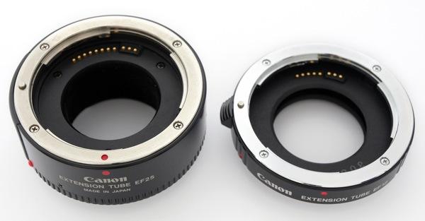 Canon EF25 и EF12 с электрическими контактами.