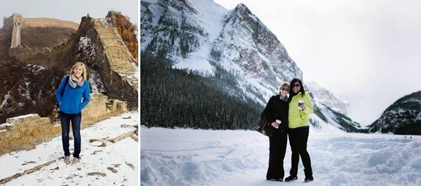 Автор публикации в своем путешествии: на правой фотографии видно сумку, на левой рюкзак, которые были у нее с собой.