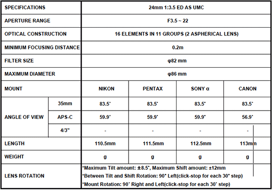 Объектив с коррекцией перспективы Samyang T-S 24mm 1:3.5 ED AS UMC - №3