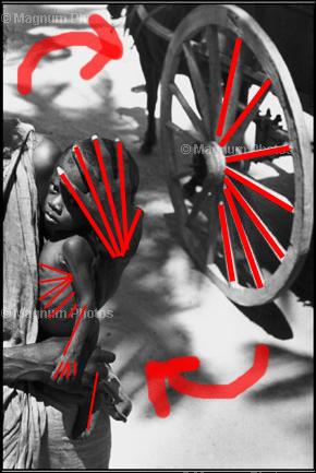 Линии на фотографии идут по часовой стрелке.