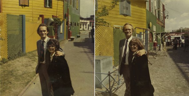 Родители фотографа 1970 и 2010 Буэнос-Айрес