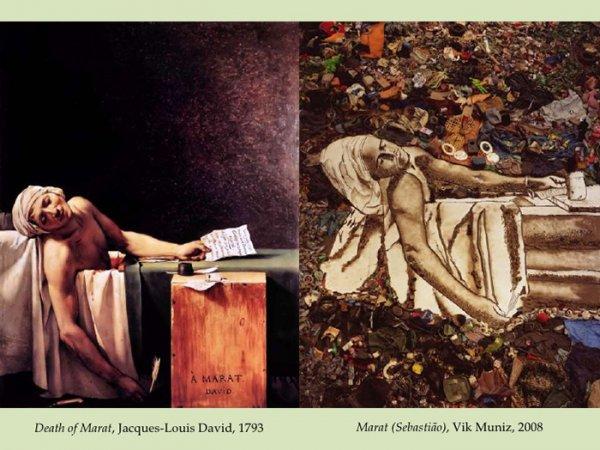 Death of Marat, Jacques-Louis David, 1793 Marat (Sebastião), Vik Muniz, 2008