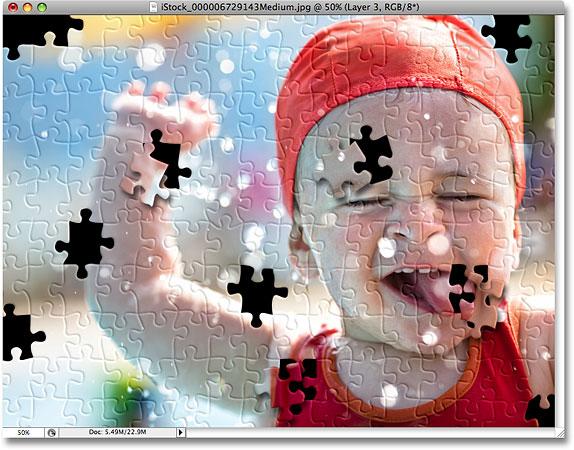 Для полноты картины вырезаем или убираем еще несколько элементов пазла - сделать пазлы из фотографий