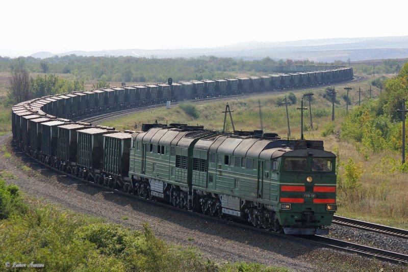 Diesel locomotive 2TE116-1291 with train