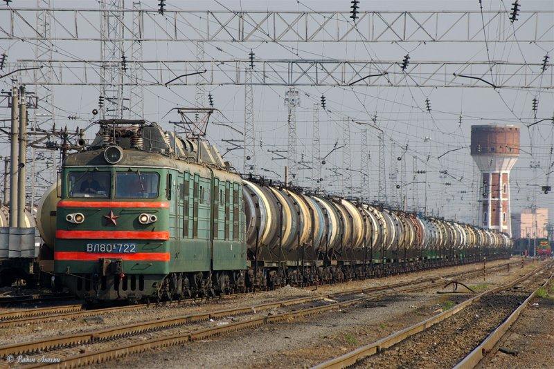 Electric locomotive VL80K-722 with train