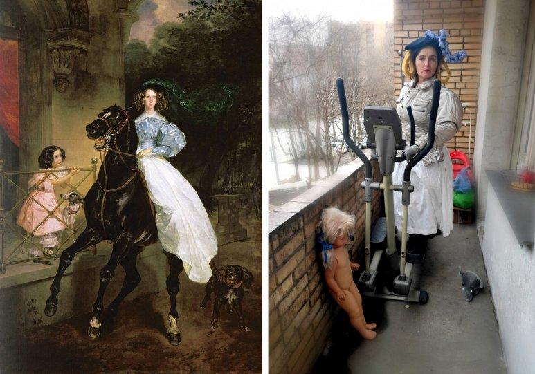 Люди изображают героев знаменитых картин - №12