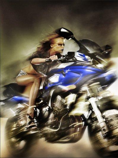 дуэт - девушка и мотоцикл