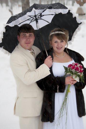 Зонтик спасет от мокрого снега