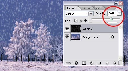 Урок фотошопа: добавляем снег - №8