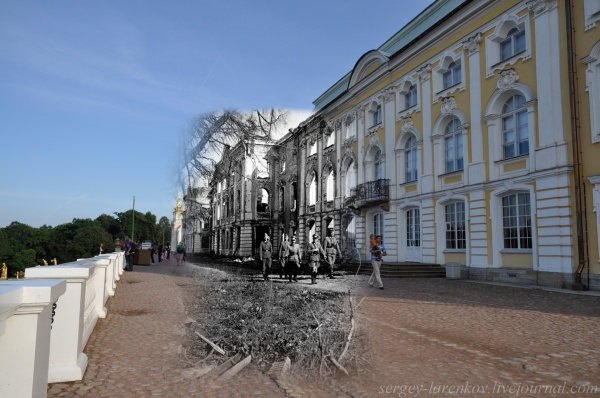 Сочетание современных фото со старинными времен Второй Мировой войны - №2