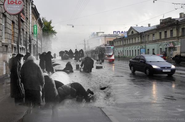 Сочетание современных фото со старинными времен Второй Мировой войны - №4