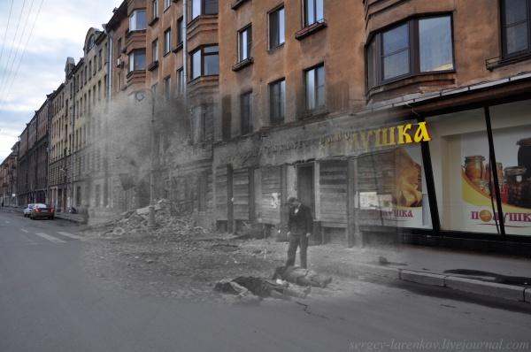 Сочетание современных фото со старинными времен Второй Мировой войны - №6