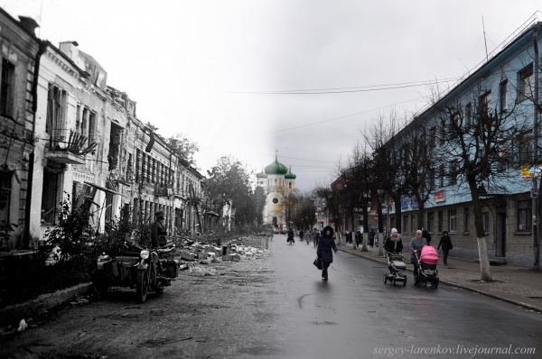 Сочетание современных фото со старинными времен Второй Мировой войны - №8