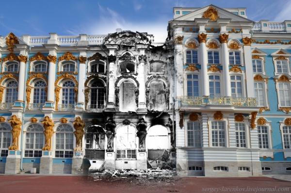 Сочетание современных фото со старинными времен Второй Мировой войны - №9