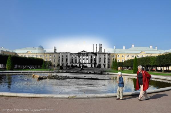 Сочетание современных фото со старинными времен Второй Мировой войны - №10