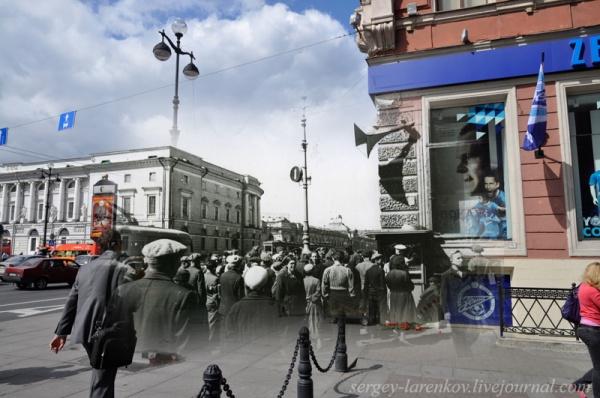 Сочетание современных фото со старинными времен Второй Мировой войны - №11