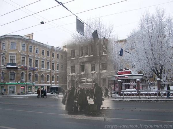 Сочетание современных фото со старинными времен Второй Мировой войны - №12