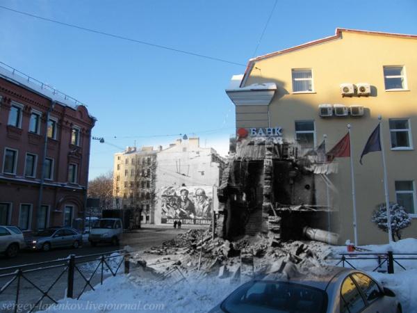 Сочетание современных фото со старинными времен Второй Мировой войны - №13