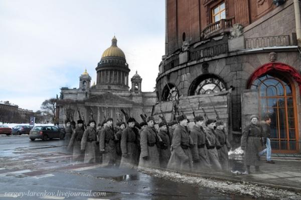 Сочетание современных фото со старинными времен Второй Мировой войны - №14