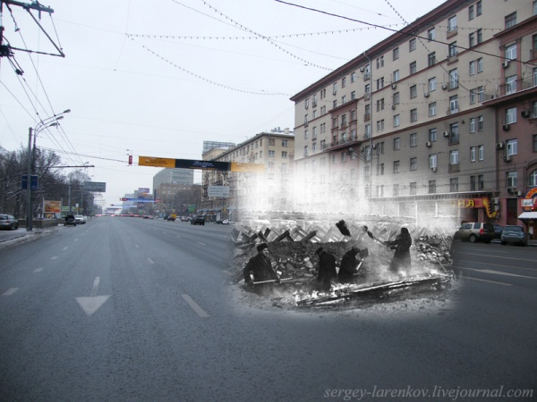 Сочетание современных фото со старинными времен Второй Мировой войны - №18