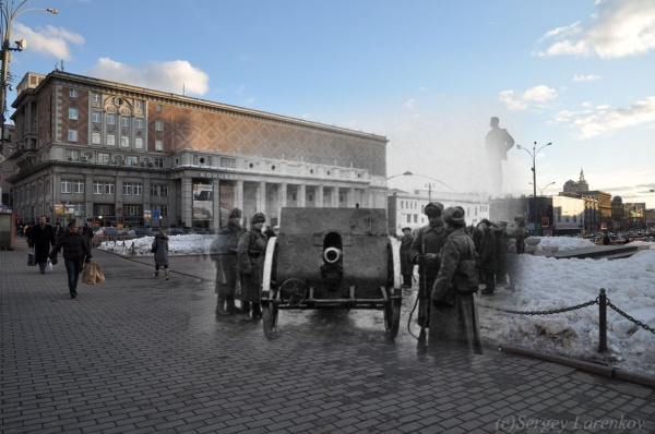 Сочетание современных фото со старинными времен Второй Мировой войны - №19