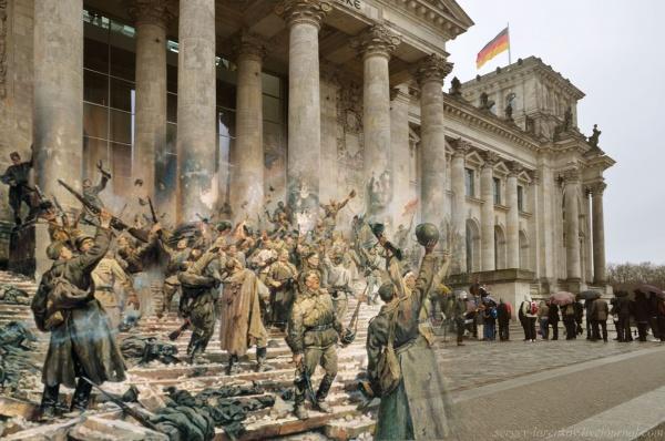 Сочетание современных фото со старинными времен Второй Мировой войны - №23
