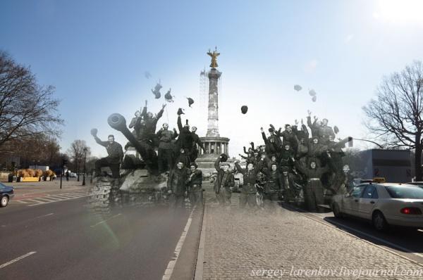 Сочетание современных фото со старинными времен Второй Мировой войны - №24