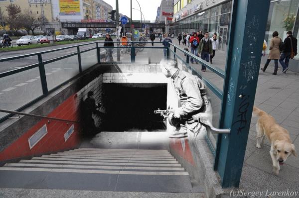 Сочетание современных фото со старинными времен Второй Мировой войны - №25