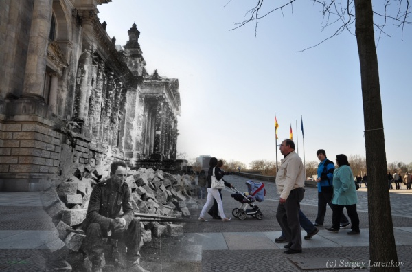 Сочетание современных фото со старинными времен Второй Мировой войны - №26