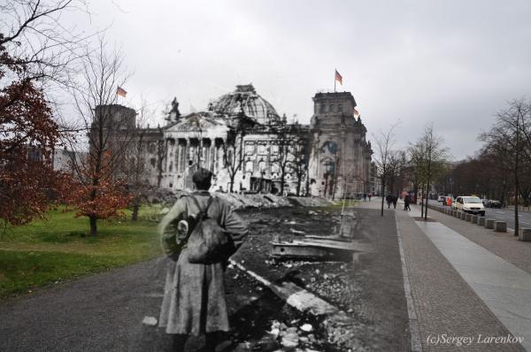 Сочетание современных фото со старинными времен Второй Мировой войны - №27
