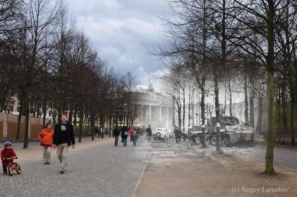 Сочетание современных фото со старинными времен Второй Мировой войны - №28