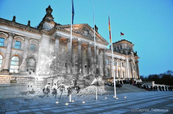 Сочетание современных фото со старинными времен Второй Мировой войны - №29