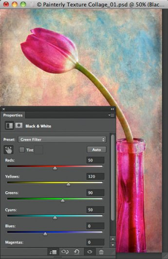 Урок Фотошопа. Цветок и живописная текстура - №13