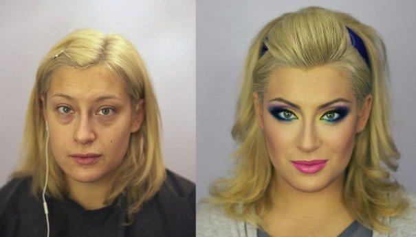 Красивые девушки до макияжа и после - №6