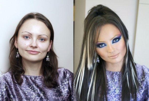 Красивые девушки до макияжа и после - №7
