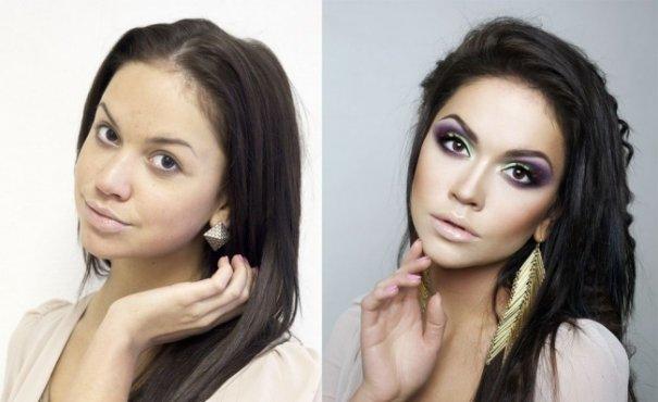 Красивые девушки до макияжа и после - №9