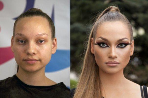 Красивые девушки до макияжа и после - №11