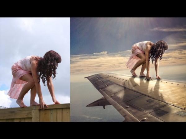 Создаем фотоманипуляцию - девушка на крыле самолета